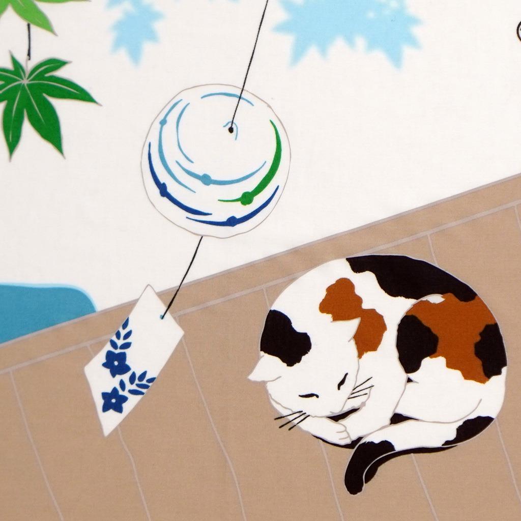 町家手拭 「猫と青紅葉」