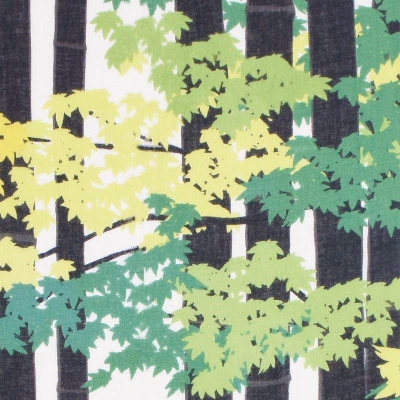 ガーゼ90㎝ 「竹林に紅葉(もみじ)」(ブラック/グリーン)