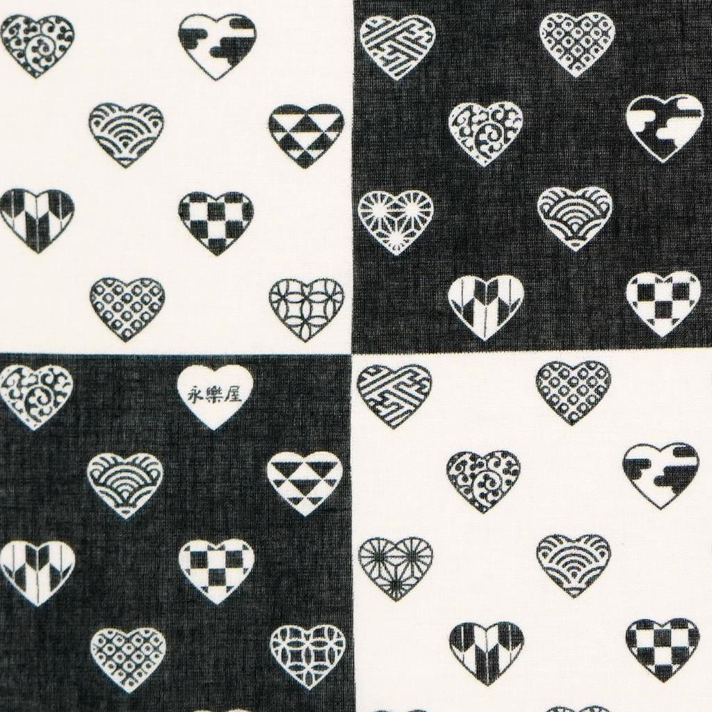 ガーゼ180cm 「ラブリ紋 縦市松」(ブラック/ホワイト)