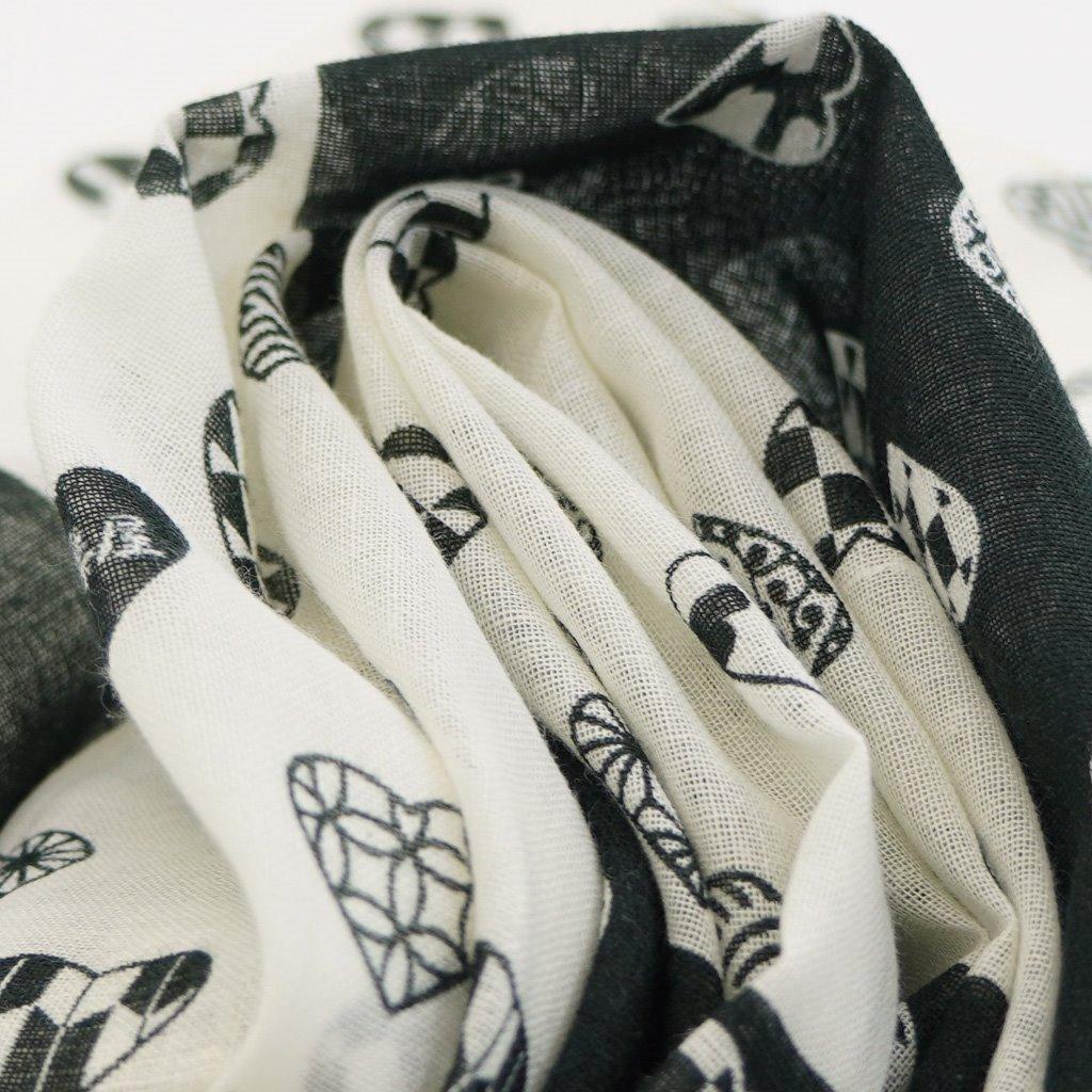 ガーゼ180cm 「ラブリ紋横市松」(ブラック/ホワイト)