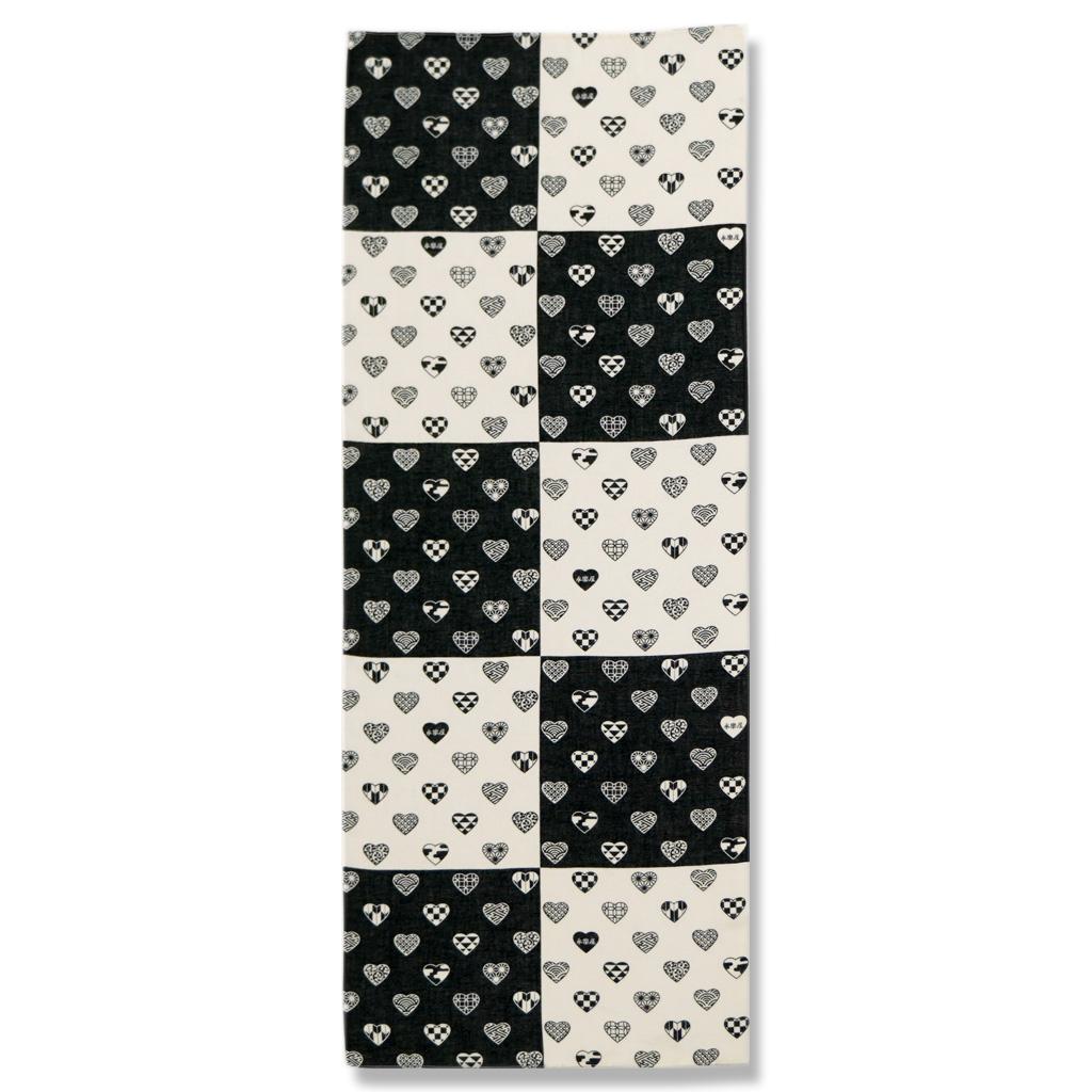 ガーゼ90cm 「ラブリ紋縦市松」(ブラック/ホワイト)