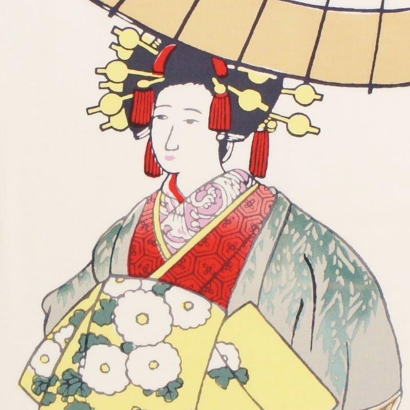町家手拭 京の年中行事四月「島原太夫道中」