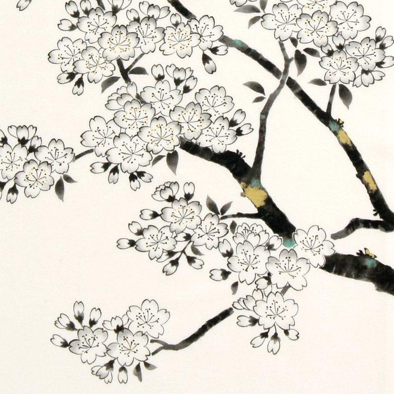 町家手拭 「墨絵 桜」