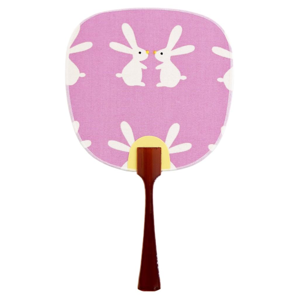 豆うちわ 並型 「しろうさぎ」(ピンク)