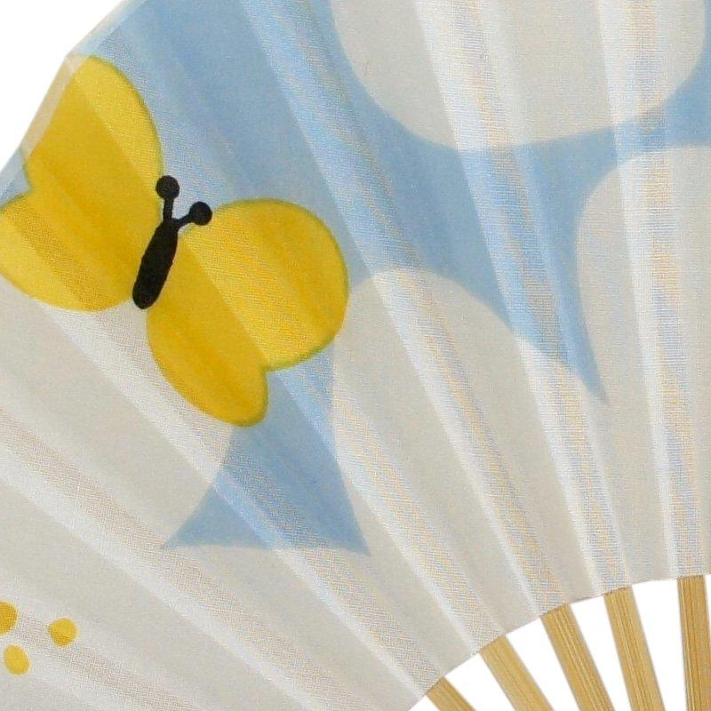 手拭MINI扇 「花と蝶」(ライトブルー/イエロー)