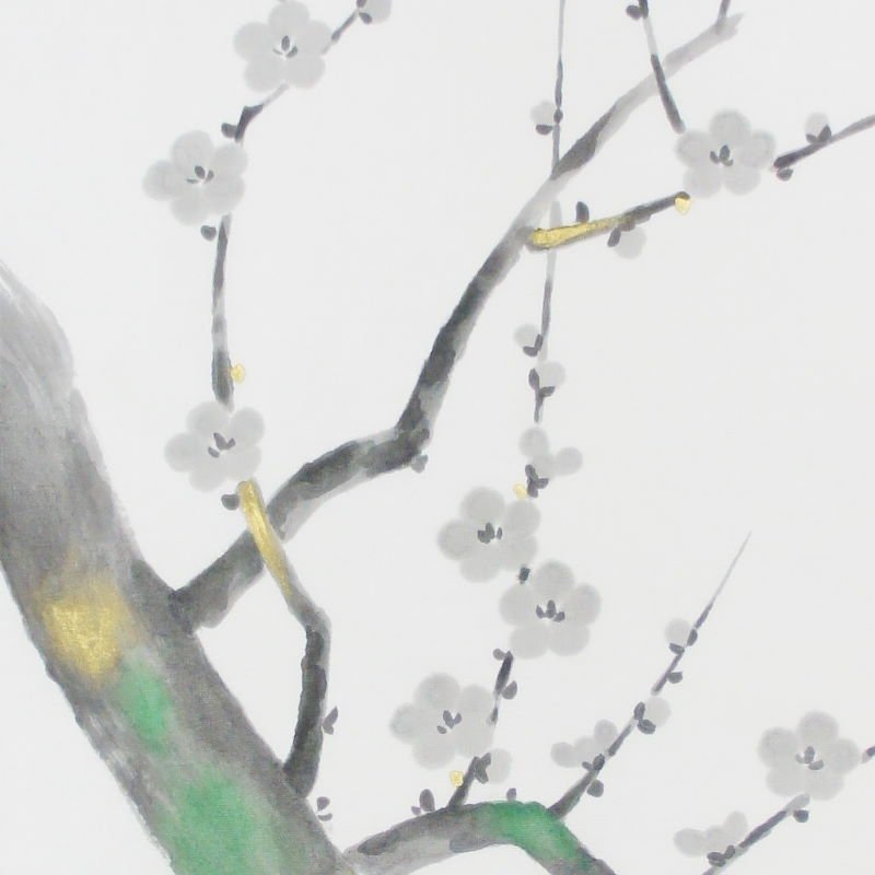 手描墨絵手拭 1月「梅」