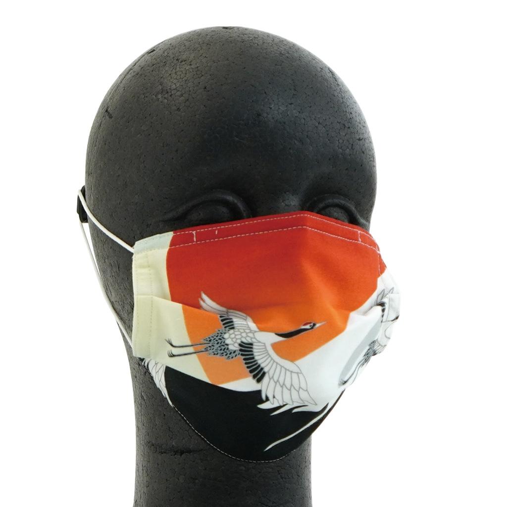 手ぬぐいマスク(三層) 「富士と鶴」(中)