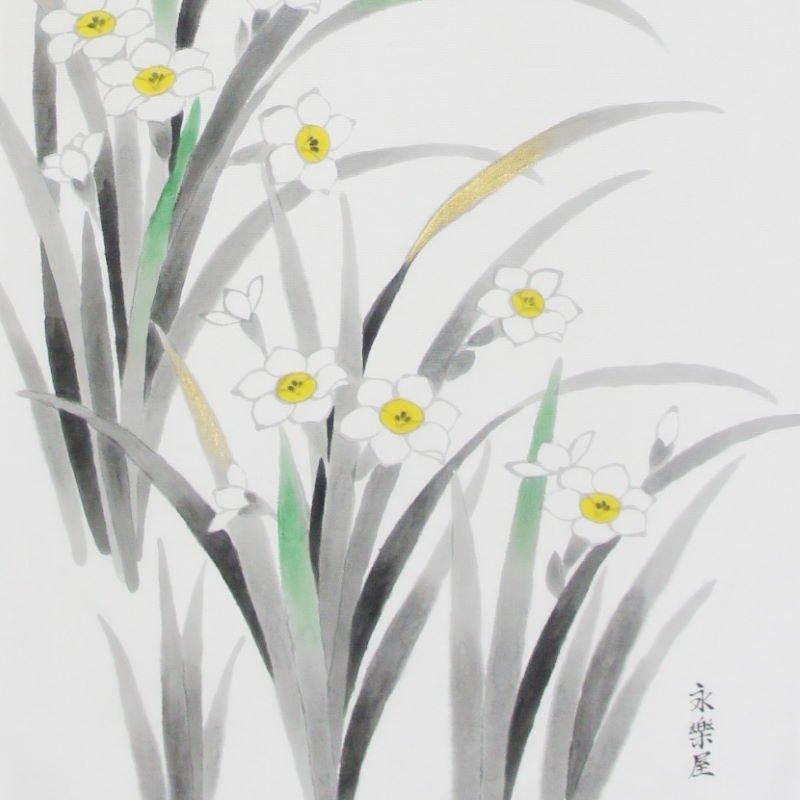 手描墨絵手拭 2月「水仙」