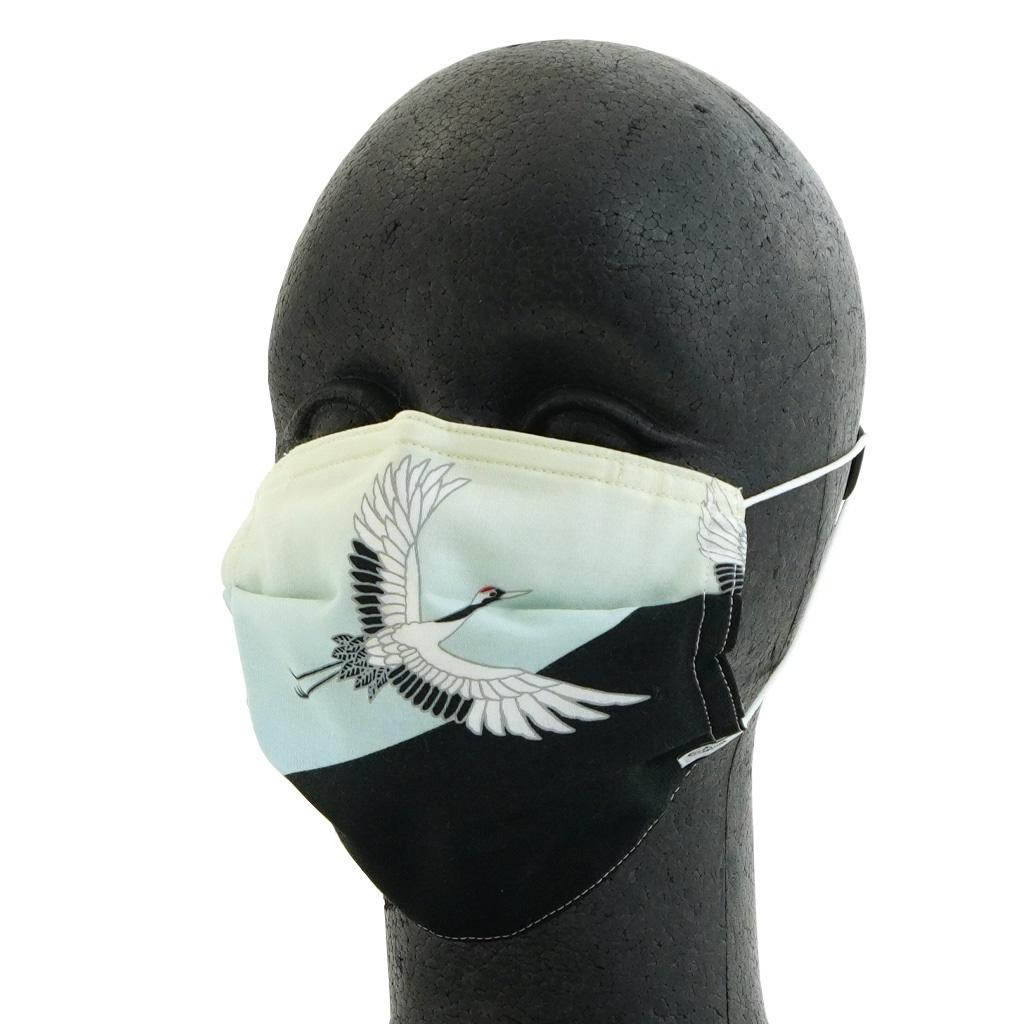 手ぬぐいマスク(三層) 「富士と鶴」(左)