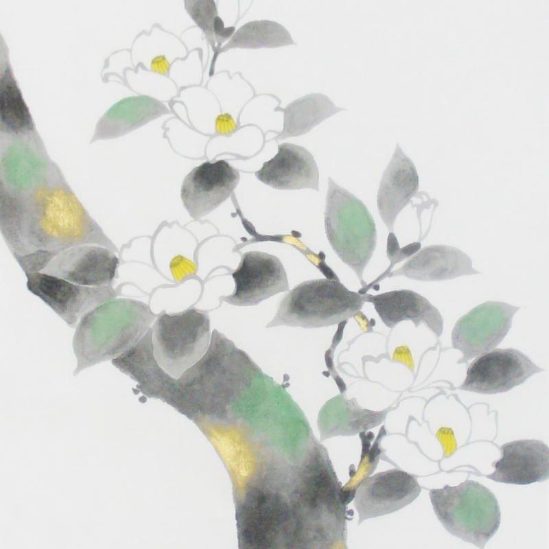 手描墨絵手拭 3月「椿」