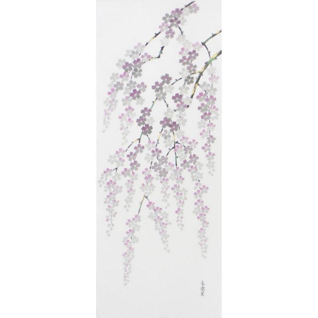 手描墨絵手拭 4月「桜」