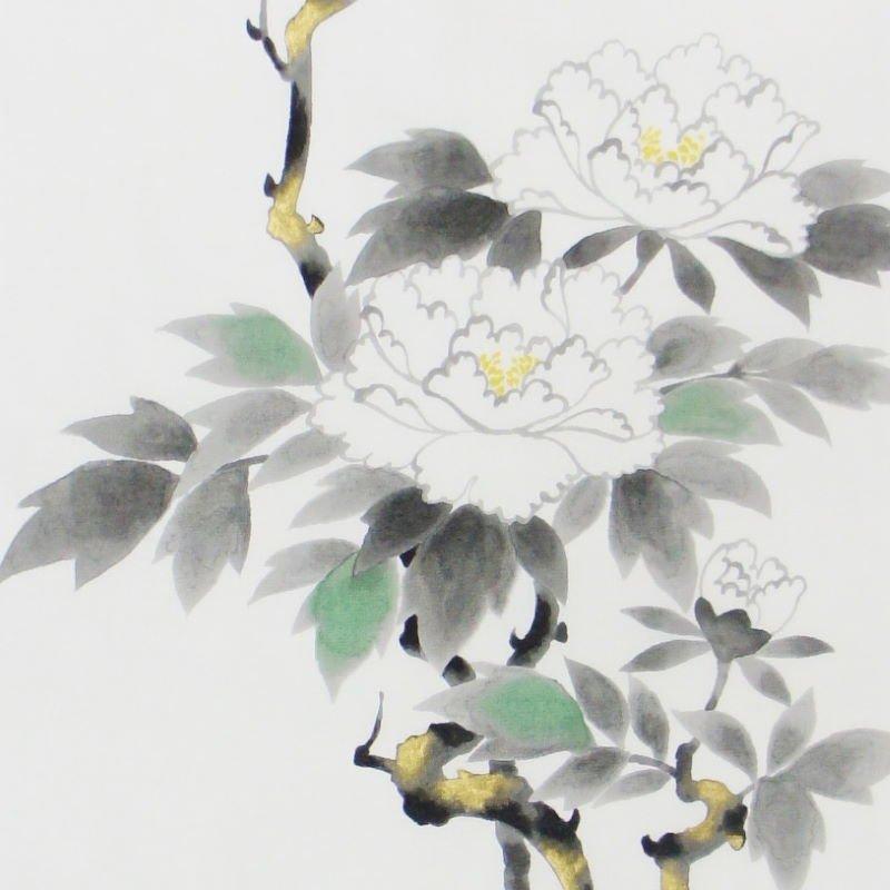 手描墨絵手拭 5月「牡丹」