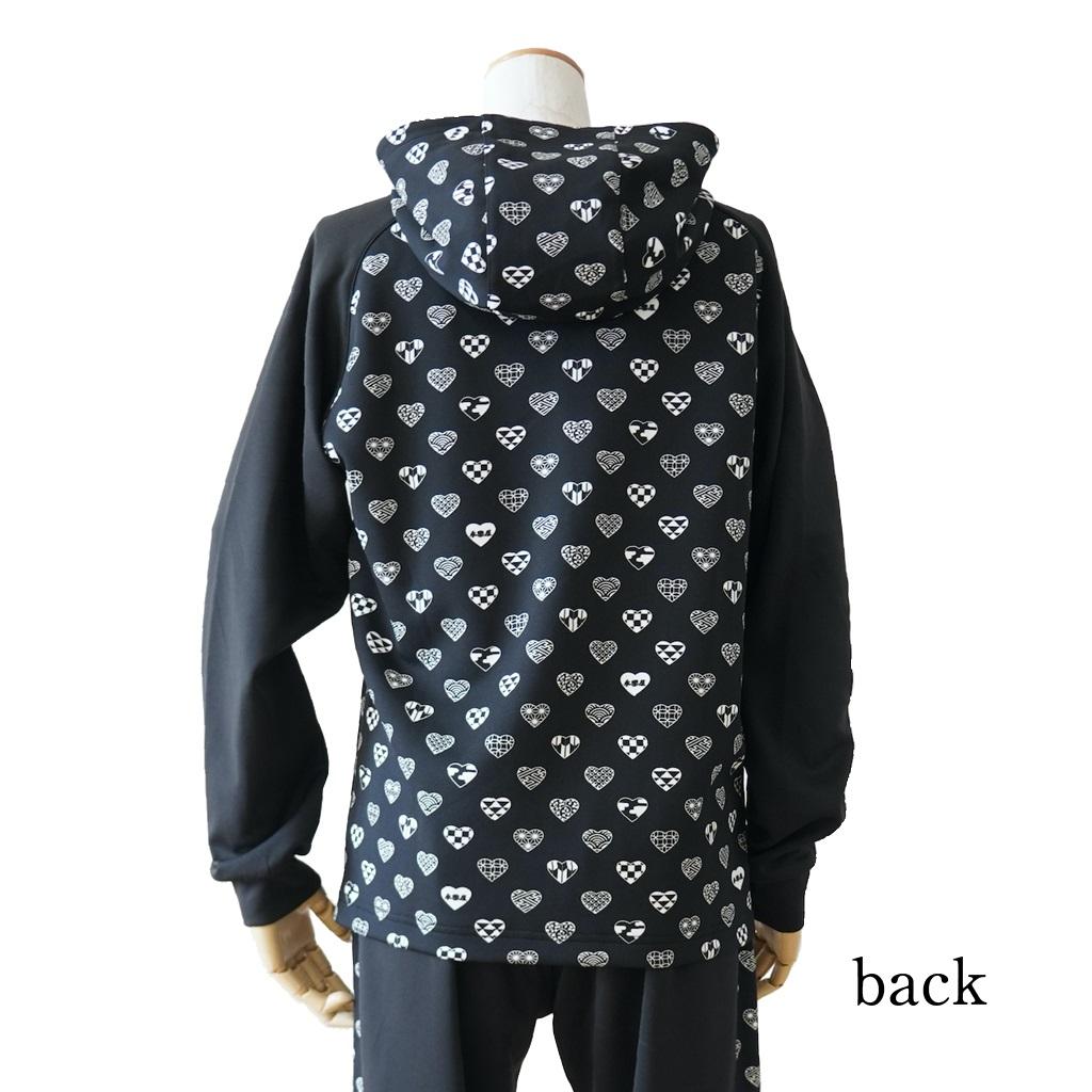 ラブリ紋「ジャージ(ジャケット)フード付」ブラック