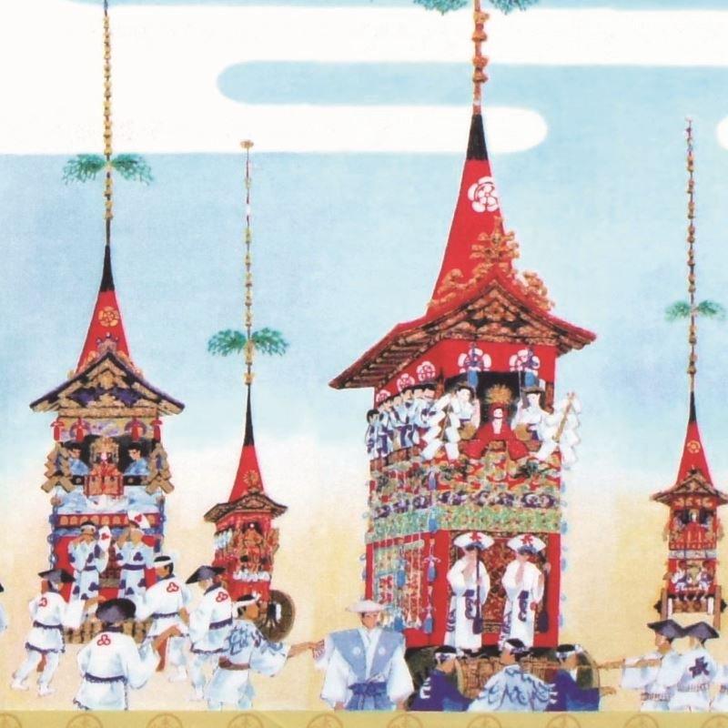 町家手拭 「絢爛屏風『祇園祭山鉾図』」