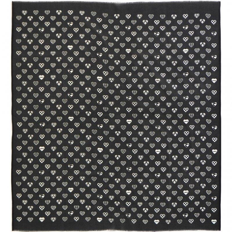丹後縮緬シルクスカーフ 「ラブリ紋」(ブラック/オフホワイト)