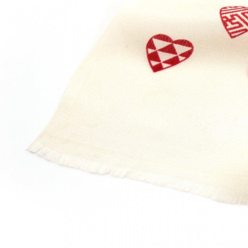 丹後縮緬シルクスカーフ 「ラブリ紋」(オフホワイト/レッド)
