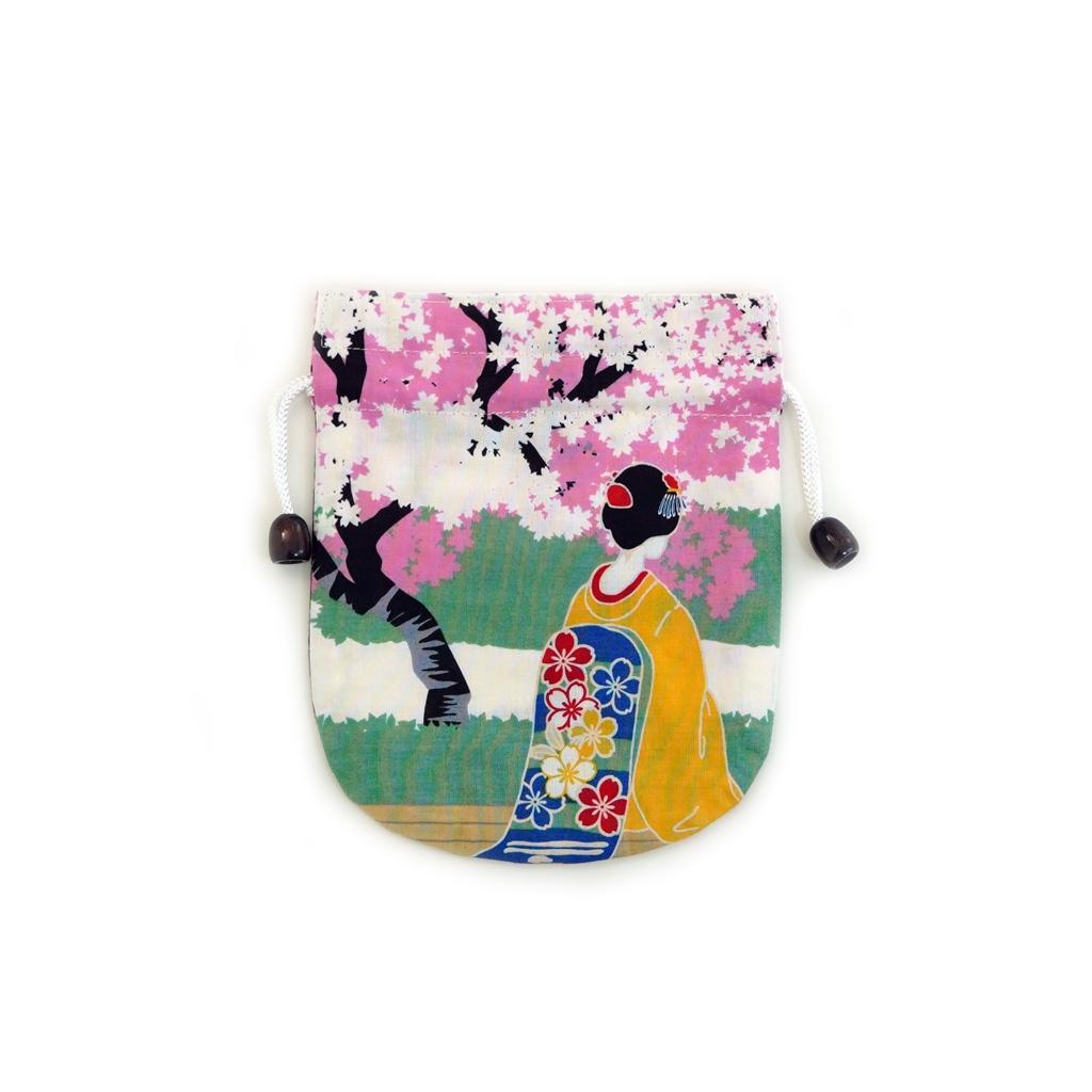 リバーシブル手拭巾着 「春の舞妓」