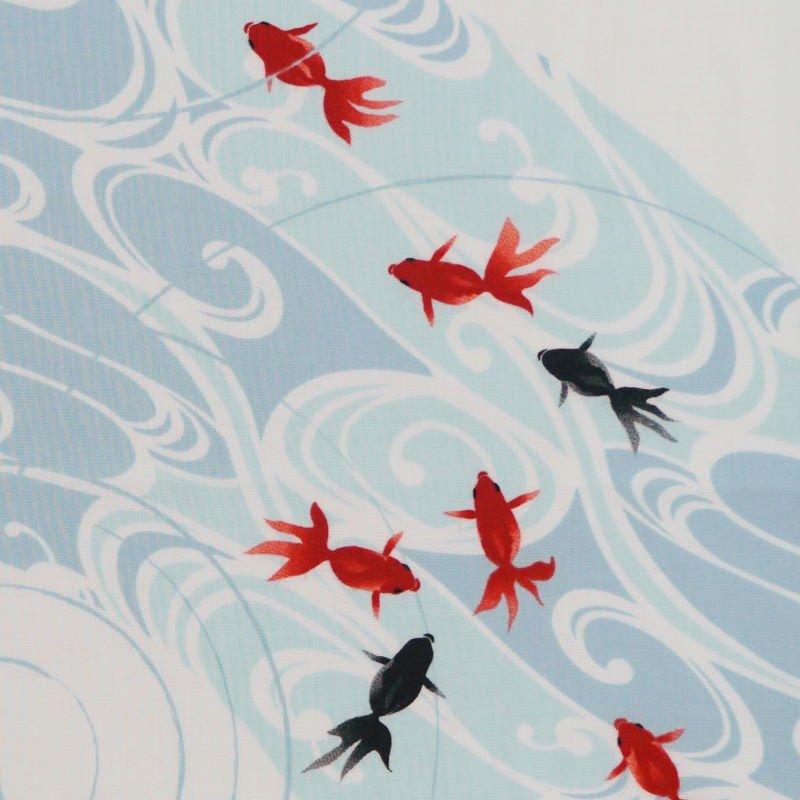 手拭総柄90cm 「水紋金魚」(ブルー/レッド)