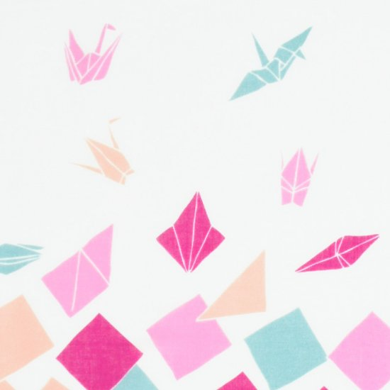 ガーゼ180㎝ 「折り鶴」(オフ/ピンク)