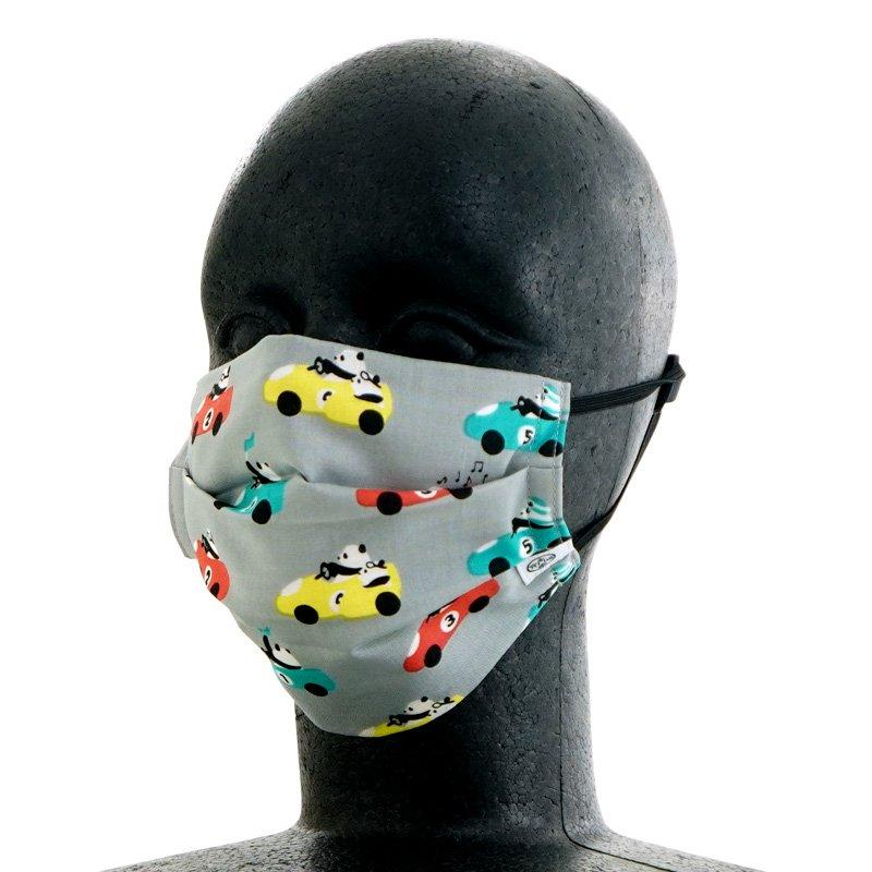 手ぬぐいマスク(二層) 「パンダレース」(グレー)