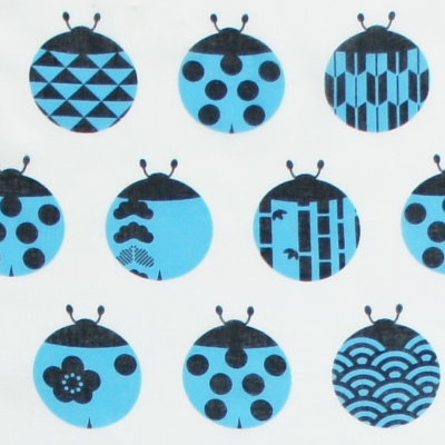 ガーゼ180㎝ 「てんとう虫和紋」(オフホワイト/ブルー)