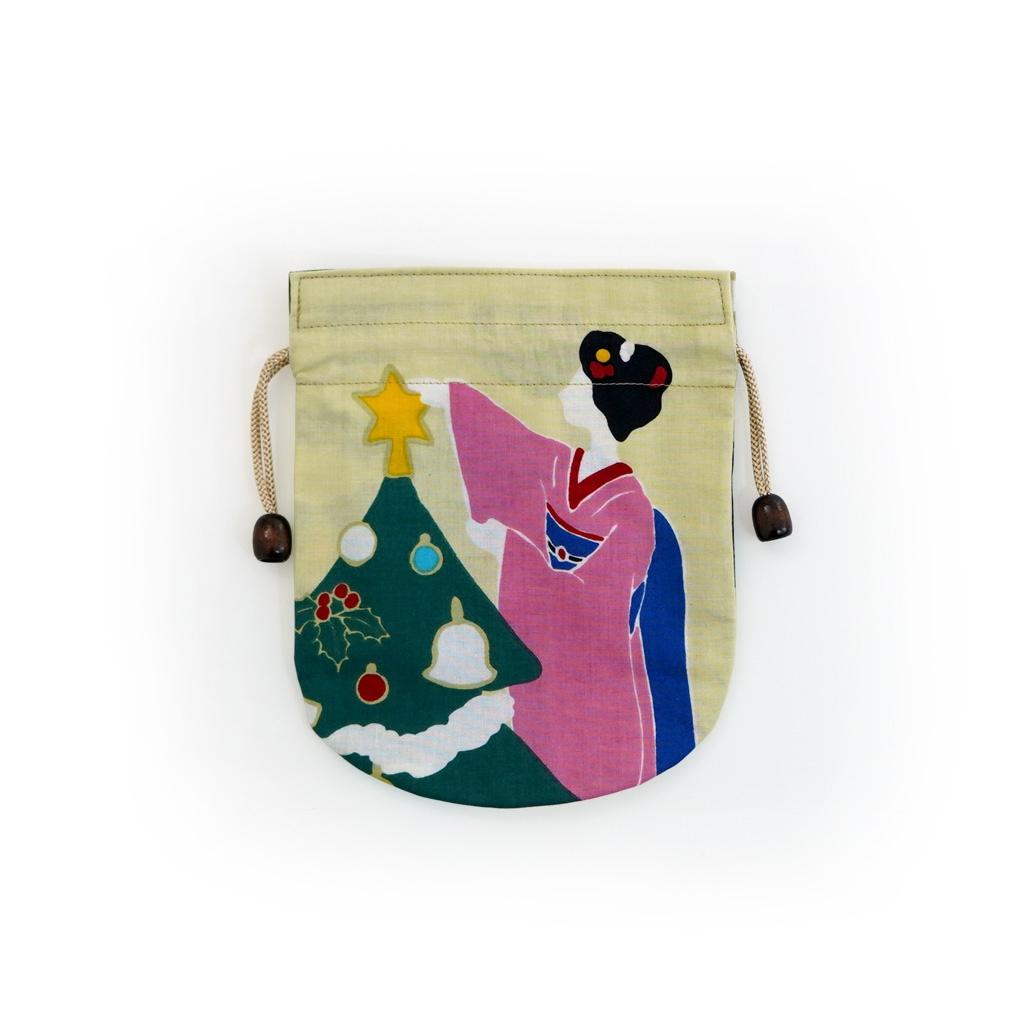 リバーシブル手拭巾着 「舞妓さんのクリスマス」