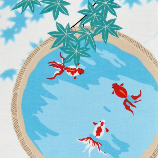 町家手拭 「金魚と青紅葉(あおもみじ)」