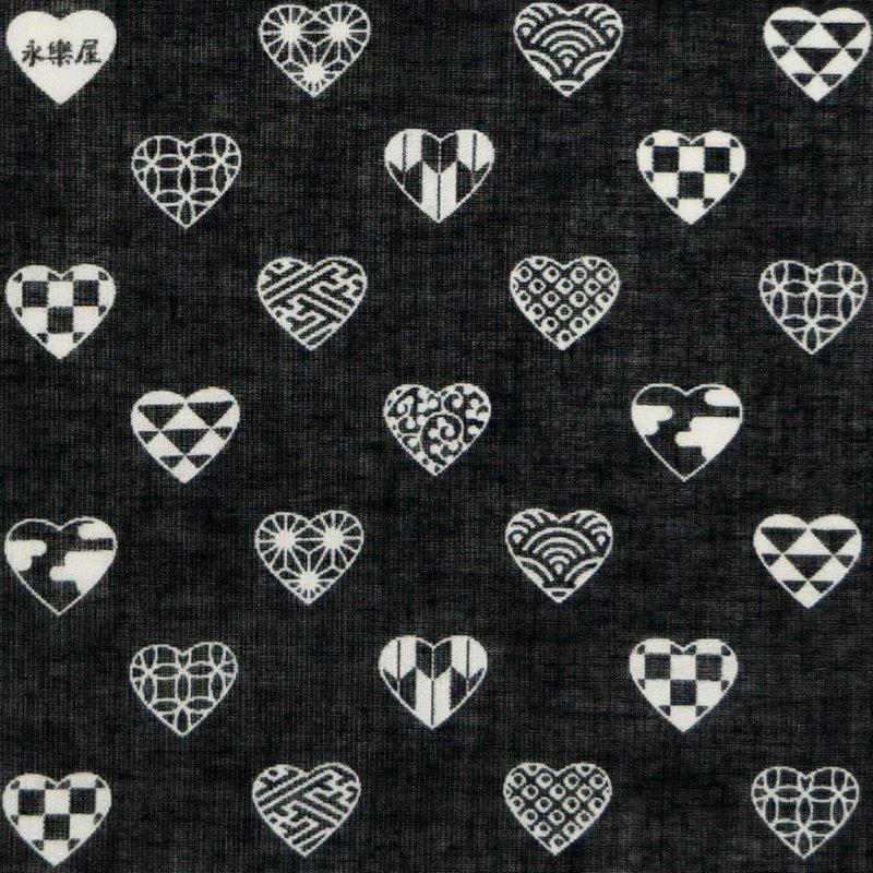 ガーゼ180cm 「ラブリ紋 横」(ブラック/ホワイト)