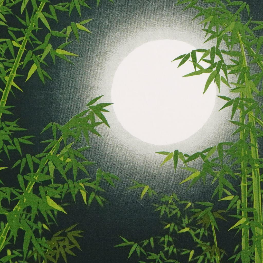 町家手拭 「竹林と満月」