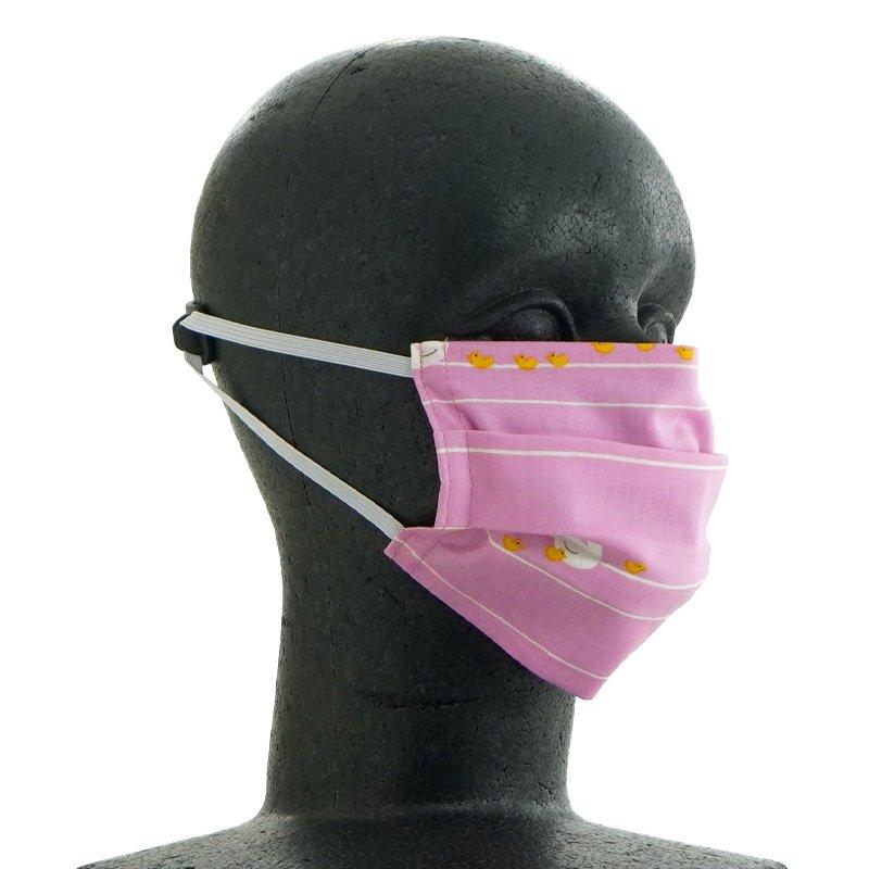 手ぬぐいマスク(二層) 「あひるの親子」(ピンク)