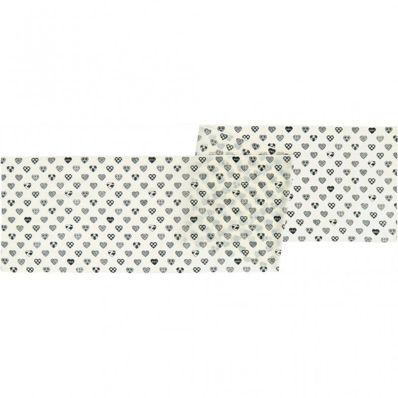 ガーゼ180cm 「ラブリ紋 横」(ホワイト/ブラック)