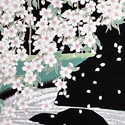 大風呂敷 「石庭と枝垂れ桜」/退蔵院