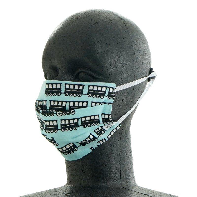 手ぬぐいマスク(二層) 「汽車」(ブルー)