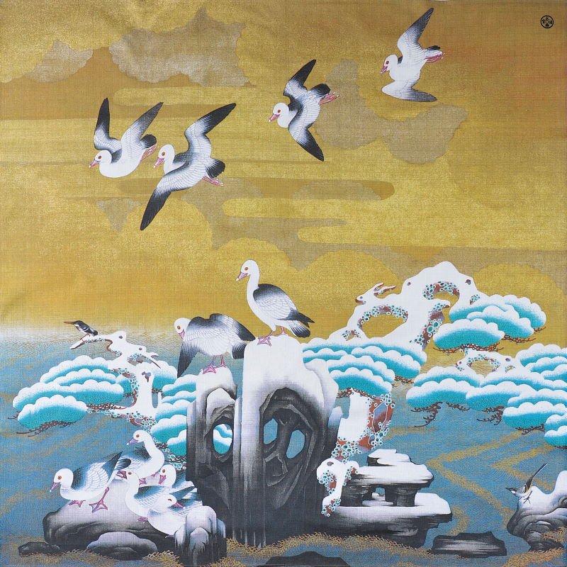 創業400年記念大風呂敷 「水禽図(すいきんず)」