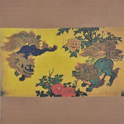 大風呂敷 「唐獅子牡丹図」/望月玉泉