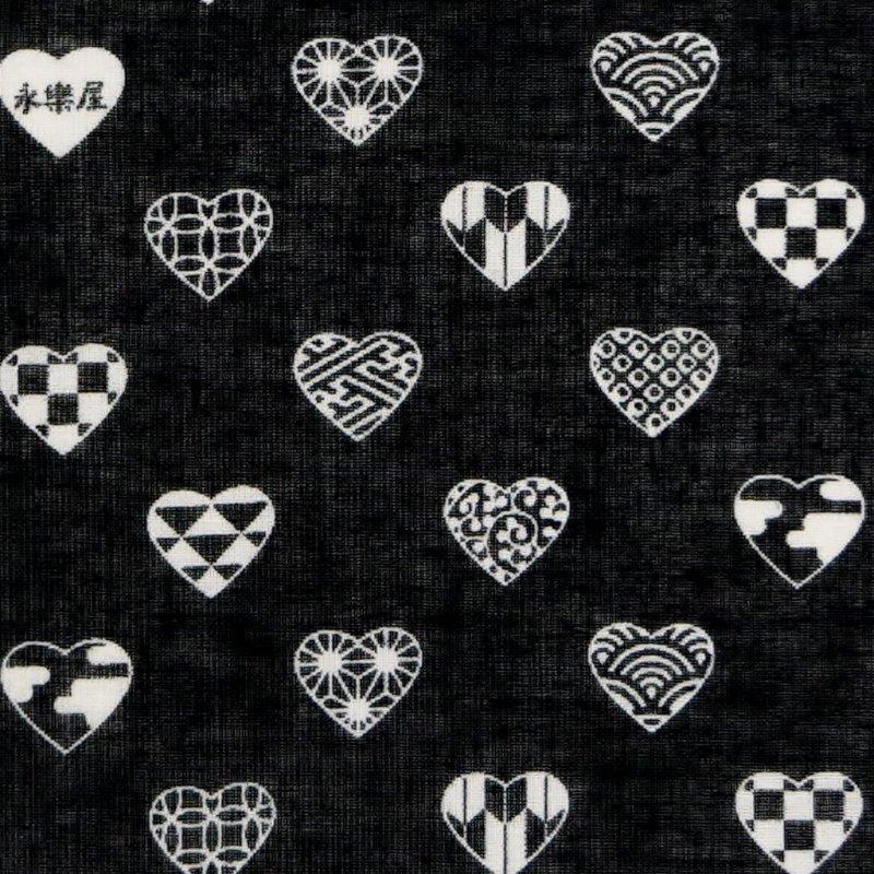 ガーゼ90cm 「ラブリ紋 横」(ブラック/ホワイト)