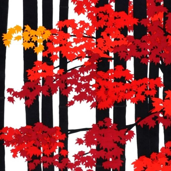 町家手拭 「竹林に紅葉(もみじ)」(ブラック/レッド)