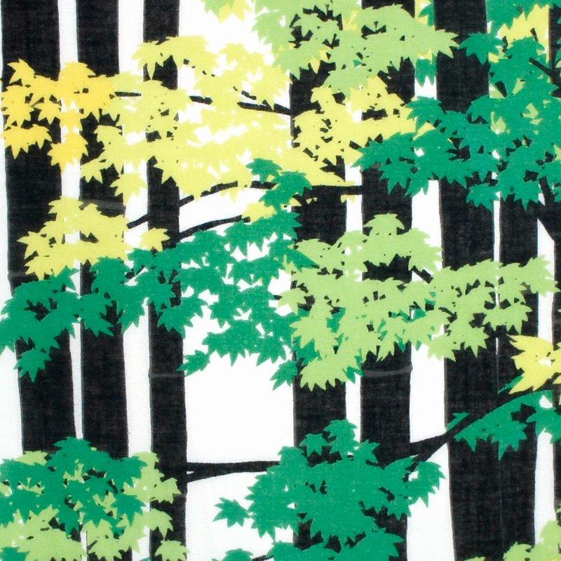 ガーゼ180㎝ 「竹林に紅葉」(ブラック/グリーン)