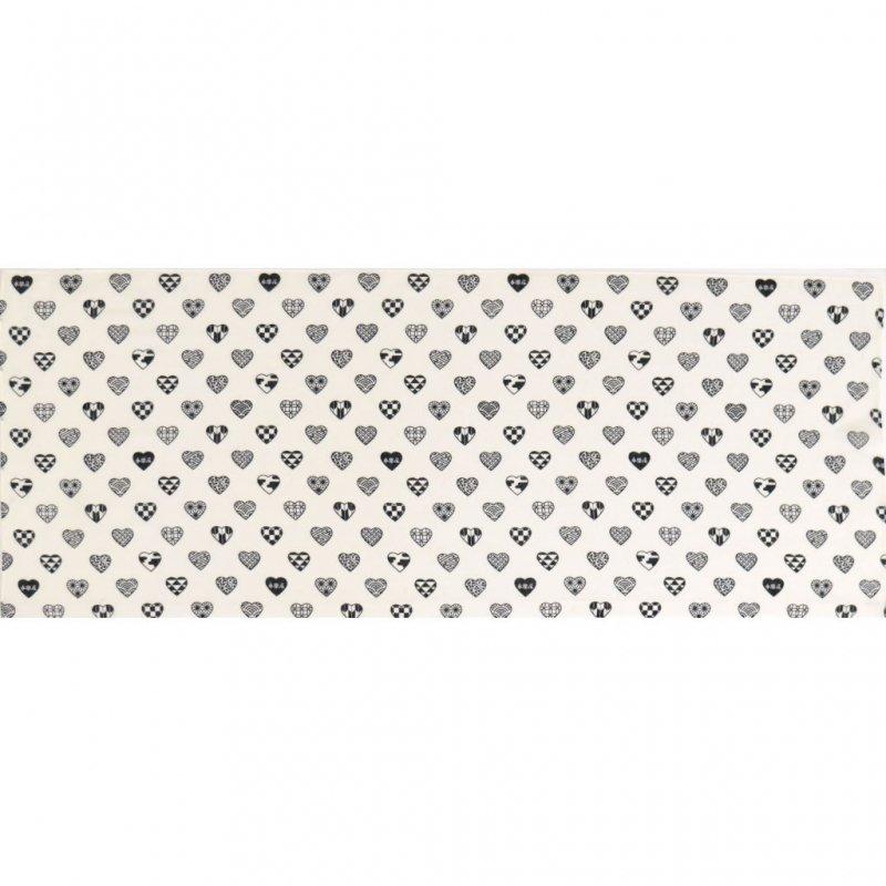 ガーゼ90cm 「ラブリ紋 横」(ホワイト/ブラック)