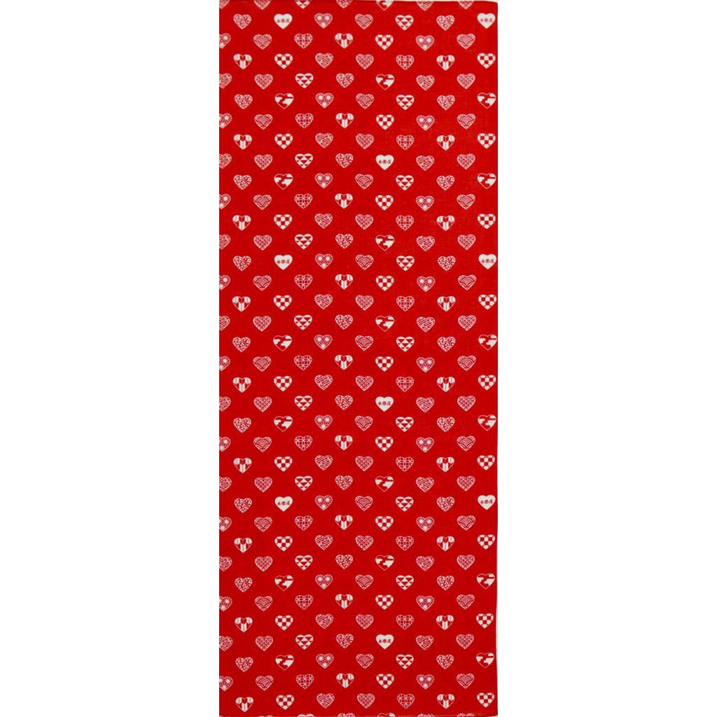 ガーゼ90cm 「ラブリ紋 縦」(レッド/ホワイト)