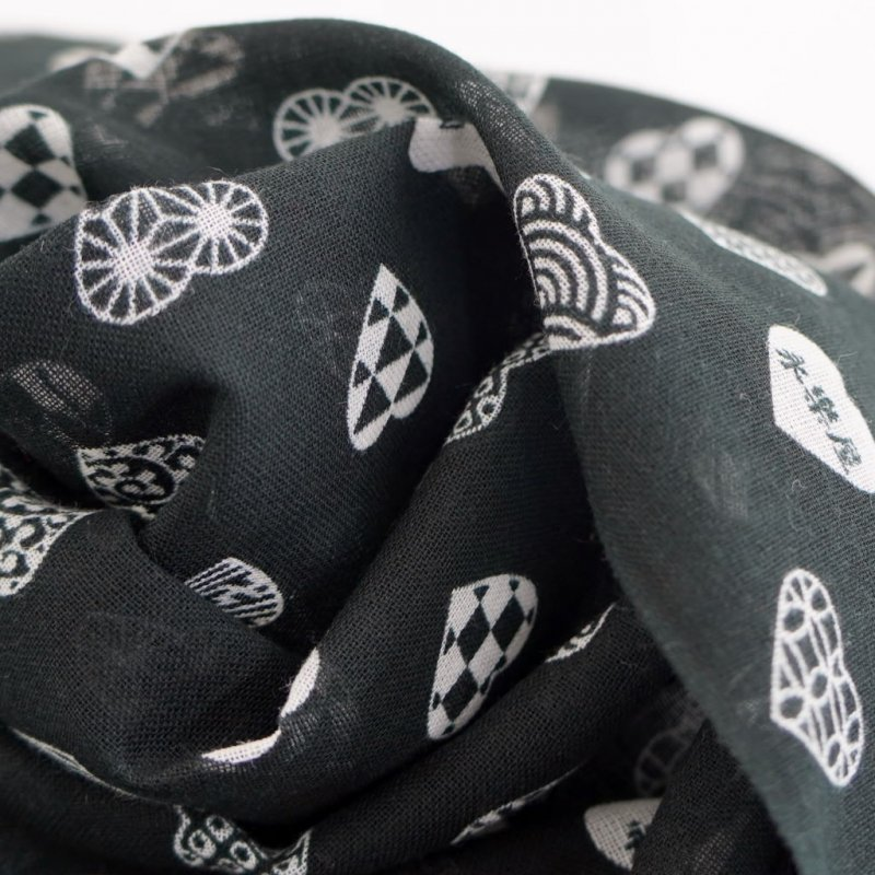 ガーゼ90cm 「ラブリ紋 縦」(ブラック/ホワイト)