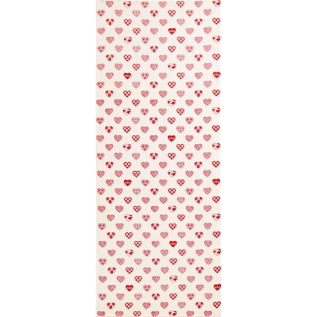ガーゼ90cm 「ラブリ紋 縦」(ホワイト/レッド)