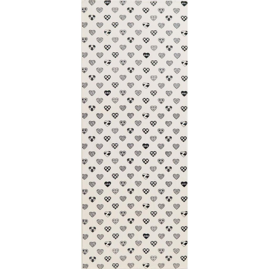 ガーゼ90cm 「ラブリ紋 縦」(ホワイト/ブラック)