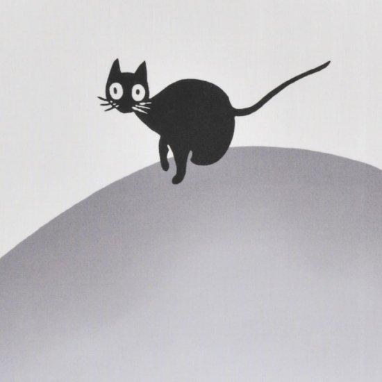 町家手拭 「行灯と猫」