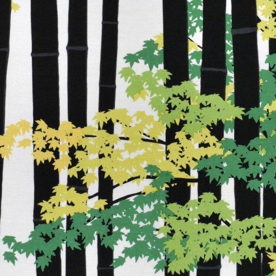 町家手拭 「竹林に紅葉(もみじ)」(ブラック/グリーン)