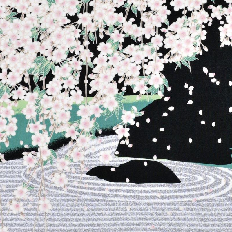 手ぬぐい 「石庭と枝垂れ桜」