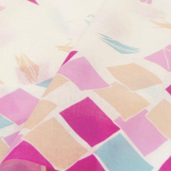 ガーゼ90㎝ 「折り鶴」(オフ/ピンク)