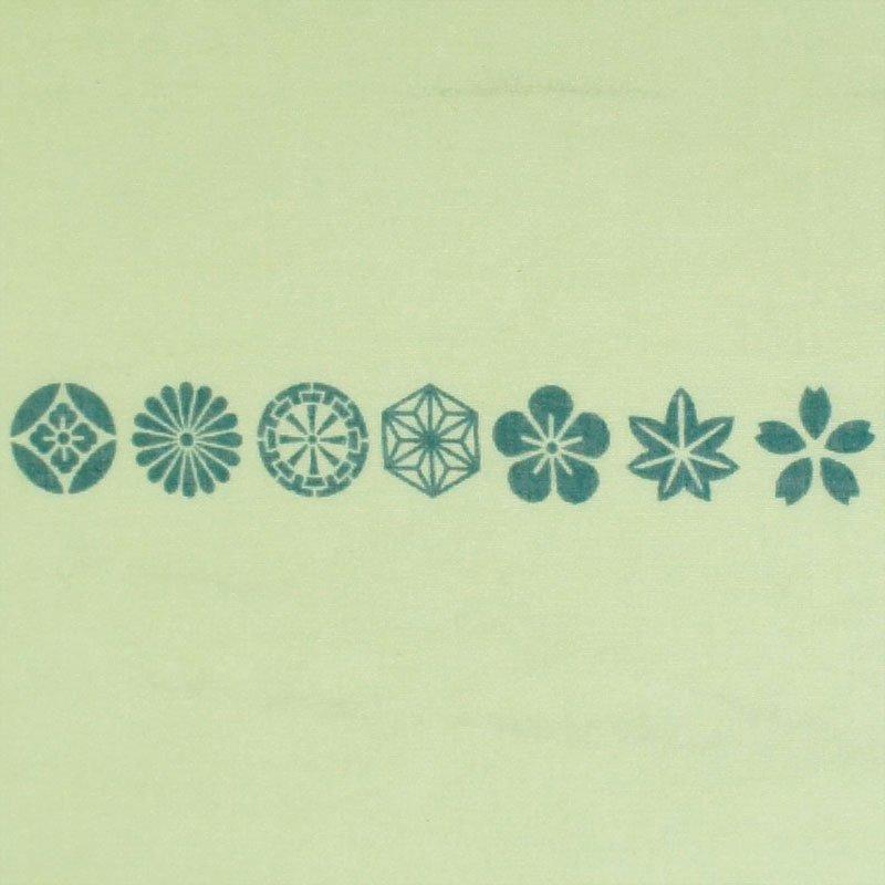 ガーゼ180㎝ 「小紋並び」(ライトグイーン/グリーン)