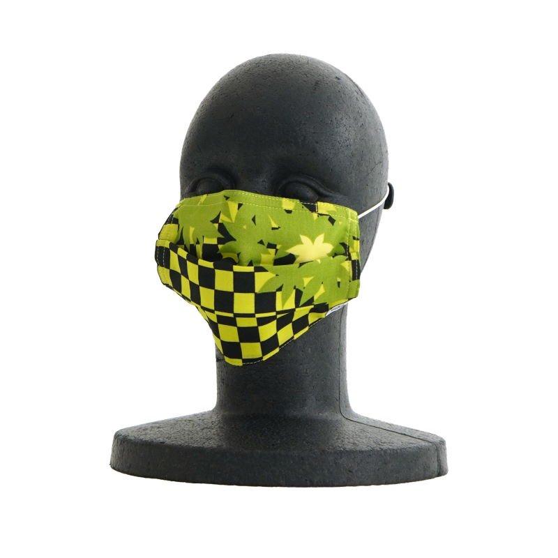 手ぬぐいマスク(三層) 「市松紅葉」(ブリーン)