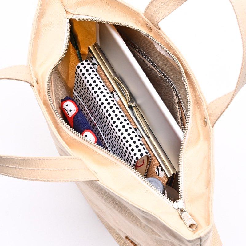 樂しい鞄 「横長トート(小)ブラウン ファスナー付き・持手S」(市松シルバー)